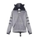 Chic Cartoon Bear Print Long Sleeve Pocket Hoodie with Tail