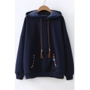 Leisure Tribal Embroidered Long Sleeve Loose Hoodie