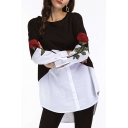 Fashionable Round Neck Long Sleeves Floral Embroidery Color Block Patchwork Tunic T-Shirt with Buttons