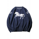 New Leisure Horse Pattern Round Neck Long Sleeve Pullover Sweatshirt
