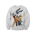 Fashion Cartoon Rabbit Print Long Sleeve Round Neck Casual Sweatshirt