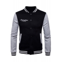 Fashion Color Block Letter Print Long Sleeve Stand-Up Collar Baseball Jacket