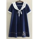New Fashion Cartoon Embroidered Short Sleeve Shift Mini Dress