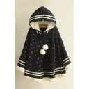 New Fashion Graphic Pattern Contrast Striped Long Sleeve Cape Coat