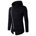 Leisure Asymmetric Inclined Zipper Long Sleeve Plain Split Front Unisex Hoodie