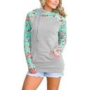 New Trendy Color Block Floral Pattern Long Sleeve Hoodie