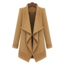 New Stylish Waterfall Collar Long Sleeve Open Front Plain Coat