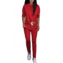 New Fashion Striped Side Round Neck Long Sleeve Pullover Sweatshirt with Drawstring Waist Pants