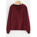 New Fashion Simple Plain Keyhold Long Sleeve Hoodie