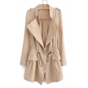 New Fashion Simple Plain Notch Lapel Drwawstring Waist Long Sleeve Trench Coat