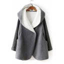 New Stylish Long Sleeve Simple Plain Patchwork Hooded Tunic Coat