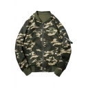 New Fashion Camouflage Pattern Stand-Up Collar Zip Placket Long Sleeve Baseball Coat