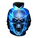 New Fashion Flame Skull Print Long Sleeve Hoodie