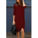 Chic Simple Plain Round Neck Asymmetric Hem 3/4 Length Sleeve Midi Dress