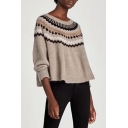 New Round Neck Long Sleeve Wave Patterned Sweater