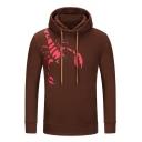 New Stylish Scorpion Print Drawstring Hood Long Sleeve Hoodie