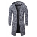 New Fashion Simple Open Front Hooded Long Sleeve Loose Cardigan