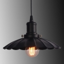 Industrial Pendant Light with 13.78''W Scalloped Shade, Black