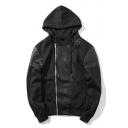 Hip-Pop Simple Plain Leather Panel Zip Up Long Sleeve Coat