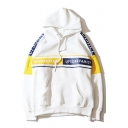 New Fashion Color Block Letter Print Long Sleeve Hoodie