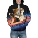 Galaxy Titanic Cat Printed Long Sleeve Hoodie with Kangaroo Pocket