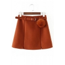 Chic Belted Waist Simple Plain Zip Fly Mini A-Line Skirt With Pom Pom