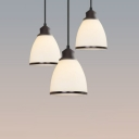Industrial Pendant Light with Dome Glass Shade, White