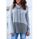 Drawstring Turtleneck Long Sleeve Color Block Patchwork Pullover Sweatshirt