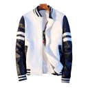 New Stylish Color Block Print Stand-Up Collar Long Sleeve Baseball Jacket