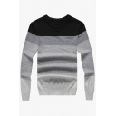 Color Block Striped Round Neck Long Sleeve Pullover Sweater