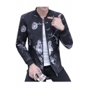 Cool Wolf Print Stand-Up Collar Zip Placket Long Sleeve Jacket