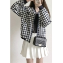 Cute Cat Letter Printed Checkered Plaids Long Sleeves Stand-up Collar Zippered Baseball Jacket with Pockets