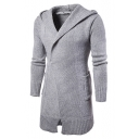 Simple Long Sleeves Knitted Hooded Longline Cardigan with Pockets & Single Button