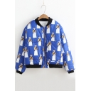Cartoon Queen Print Stand-Up Collar Zip Up Long Sleeve Coat