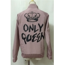 Crown Letter Printed Stand-up Collar Long Sleeves Zippered Jacket