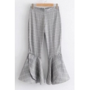 New Stylish Classic Plaid Zip Fly Flared Pants