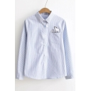Chic Striped Lapel Bear Embroidered Long Sleeve Buttons Down Shirt