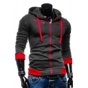 New Stylish Color Block Drawstring Hood Long Sleeve Zip Up Hoodie