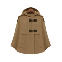 New Stylish Single Breasted Loose Simple Plain Hooded Poncho