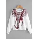 Fashion Elephant Print Round Neck Long Sleeve loose Pullover Sweatshirt