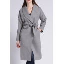 New Stylish Notched Lapel Long Sleeve Plain Bow Tie Waist Tunic Coat