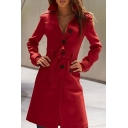 Fashion Single Breasted Long Sleeve Bow Tie Waist Plain Tunic Coat