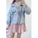 Simple Plain Sleeveless Hoodie Lapel Long Sleeve Buttons Down Two Pieces Denim Jacket
