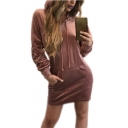 New Fashion Simple Plain Long Sleeve Sports Hoodie Mini Dress