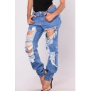 Stylish Low Rise Zipper Fly Ripped Boyfriend Jeans