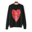 New Stylish Heart Shape Print Round Neck Long Sleeve Pullover Sweatshirt