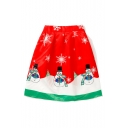 New Trendy Snowman Christmas Snowflake Print A-Line Midi Skirt