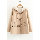 Leisure Cartoon Cat Embroidered Long Sleeve Woolen Coat