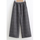 Simple Plaid Pattern Elastic Waist Wide Leg Pants