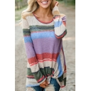 New Stylish Color Block Striped Print Round Neck Long Sleeve Asymmetric Tee